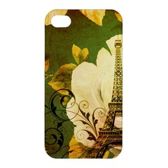 Floral Eiffel Tower Vintage French Paris Apple Iphone 4/4s Premium Hardshell Case