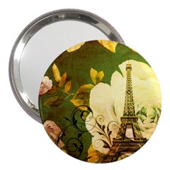Floral Eiffel Tower Vintage French Paris 3  Handbag Mirror by chicelegantboutique