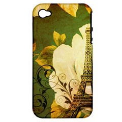 Floral Eiffel Tower Vintage French Paris Apple Iphone 4/4s Hardshell Case (pc+silicone) by chicelegantboutique