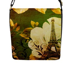 Floral Eiffel Tower Vintage French Paris Flap Closure Messenger Bag (large) by chicelegantboutique
