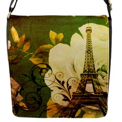Floral Eiffel Tower Vintage French Paris Flap Closure Messenger Bag (small)