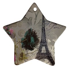 Floral Vintage Paris Eiffel Tower Art Star Ornament by chicelegantboutique