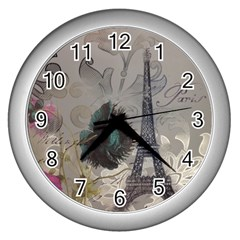 Floral Vintage Paris Eiffel Tower Art Wall Clock (silver) by chicelegantboutique
