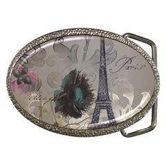 Floral Vintage Paris Eiffel Tower Art Belt Buckle (oval) by chicelegantboutique