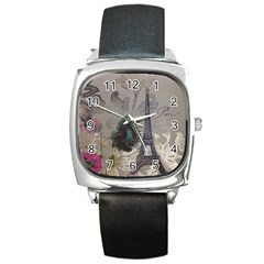 Floral Vintage Paris Eiffel Tower Art Square Leather Watch by chicelegantboutique