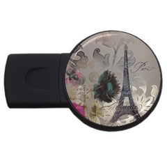 Floral Vintage Paris Eiffel Tower Art 4gb Usb Flash Drive (round) by chicelegantboutique