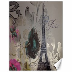 Floral Vintage Paris Eiffel Tower Art Canvas 12  X 16  (unframed) by chicelegantboutique