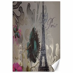 Floral Vintage Paris Eiffel Tower Art Canvas 20  X 30  (unframed) by chicelegantboutique