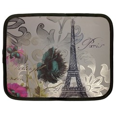 Floral Vintage Paris Eiffel Tower Art Netbook Case (large) by chicelegantboutique