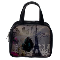 Floral Vintage Paris Eiffel Tower Art Classic Handbag (one Side) by chicelegantboutique