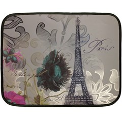 Floral Vintage Paris Eiffel Tower Art Mini Fleece Blanket (two Sided)