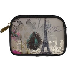 Floral Vintage Paris Eiffel Tower Art Digital Camera Leather Case by chicelegantboutique