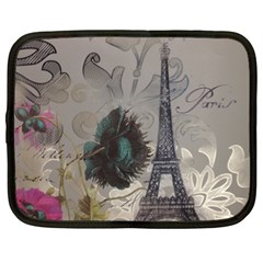 Floral Vintage Paris Eiffel Tower Art Netbook Case (xl) by chicelegantboutique
