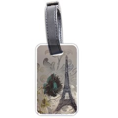 Floral Vintage Paris Eiffel Tower Art Luggage Tag (two Sides) by chicelegantboutique