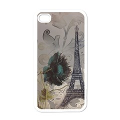 Floral Vintage Paris Eiffel Tower Art Apple Iphone 4 Case (white) by chicelegantboutique