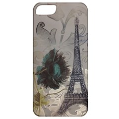 Floral Vintage Paris Eiffel Tower Art Apple Iphone 5 Classic Hardshell Case by chicelegantboutique