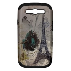 Floral Vintage Paris Eiffel Tower Art Samsung Galaxy S Iii Hardshell Case (pc+silicone) by chicelegantboutique
