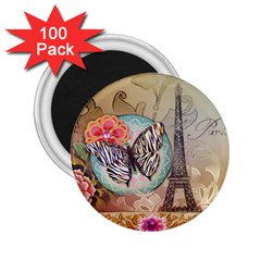 Fuschia Flowers Butterfly Eiffel Tower Vintage Paris Fashion 2 25  Button Magnet (100 Pack) by chicelegantboutique