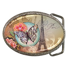 Fuschia Flowers Butterfly Eiffel Tower Vintage Paris Fashion Belt Buckle (oval) by chicelegantboutique