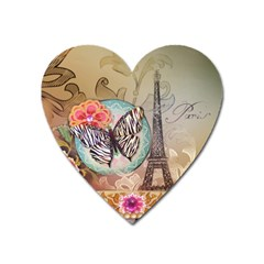 Fuschia Flowers Butterfly Eiffel Tower Vintage Paris Fashion Magnet (heart) by chicelegantboutique
