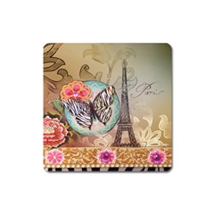 Fuschia Flowers Butterfly Eiffel Tower Vintage Paris Fashion Magnet (square)