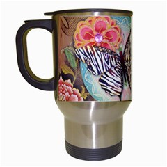 Fuschia Flowers Butterfly Eiffel Tower Vintage Paris Fashion Travel Mug (white)