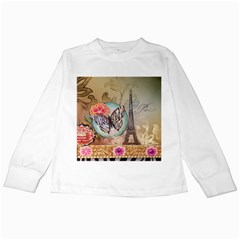Fuschia Flowers Butterfly Eiffel Tower Vintage Paris Fashion Kids Long Sleeve T Shirt by chicelegantboutique