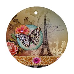 Fuschia Flowers Butterfly Eiffel Tower Vintage Paris Fashion Round Ornament (two Sides)