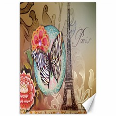 Fuschia Flowers Butterfly Eiffel Tower Vintage Paris Fashion Canvas 12  X 18  (unframed) by chicelegantboutique