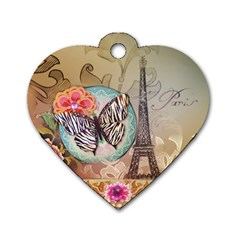 Fuschia Flowers Butterfly Eiffel Tower Vintage Paris Fashion Dog Tag Heart (two Sided) by chicelegantboutique