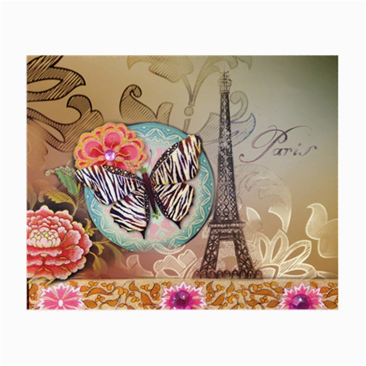 Fuschia Flowers Butterfly Eiffel Tower Vintage Paris Fashion Glasses Cloth (Small, Two Sided)