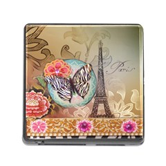 Fuschia Flowers Butterfly Eiffel Tower Vintage Paris Fashion Memory Card Reader With Storage (square)