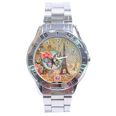 Fuschia Flowers Butterfly Eiffel Tower Vintage Paris Fashion Stainless Steel Watch (men s) by chicelegantboutique
