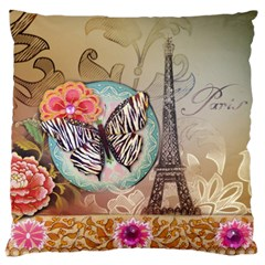 Fuschia Flowers Butterfly Eiffel Tower Vintage Paris Fashion Large Cushion Case (single Sided)  by chicelegantboutique