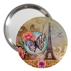 Fuschia Flowers Butterfly Eiffel Tower Vintage Paris Fashion 3  Handbag Mirror by chicelegantboutique