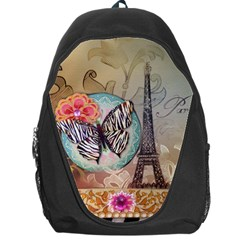 Fuschia Flowers Butterfly Eiffel Tower Vintage Paris Fashion Backpack Bag
