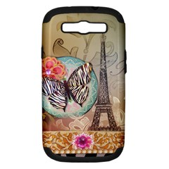 Fuschia Flowers Butterfly Eiffel Tower Vintage Paris Fashion Samsung Galaxy S Iii Hardshell Case (pc+silicone)