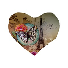 Fuschia Flowers Butterfly Eiffel Tower Vintage Paris Fashion 16  Premium Heart Shape Cushion  by chicelegantboutique