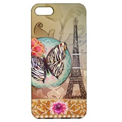 Fuschia Flowers Butterfly Eiffel Tower Vintage Paris Fashion Apple Iphone 5 Hardshell Case With Stand by chicelegantboutique