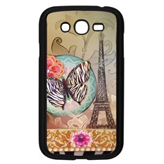 Fuschia Flowers Butterfly Eiffel Tower Vintage Paris Fashion Samsung I9082(galaxy Grand Duos)(black) by chicelegantboutique