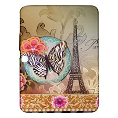 Fuschia Flowers Butterfly Eiffel Tower Vintage Paris Fashion Samsung Galaxy Tab 3 (10 1 ) P5200 Hardshell Case  by chicelegantboutique