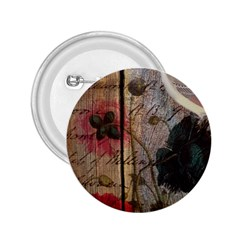 Vintage Bird Poppy Flower Botanical Art 2 25  Button by chicelegantboutique