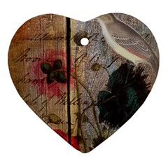 Vintage Bird Poppy Flower Botanical Art Heart Ornament by chicelegantboutique