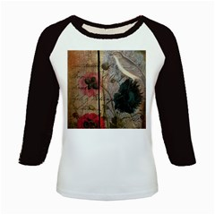 Vintage Bird Poppy Flower Botanical Art Women s Long Cap Sleeve T-shirt by chicelegantboutique