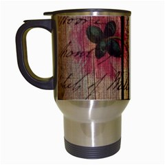 Vintage Bird Poppy Flower Botanical Art Travel Mug (white) by chicelegantboutique