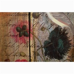 Vintage Bird Poppy Flower Botanical Art Canvas 24  X 36  (unframed)