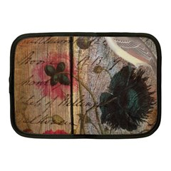 Vintage Bird Poppy Flower Botanical Art Netbook Case (medium)