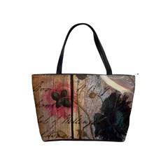 Vintage Bird Poppy Flower Botanical Art Large Shoulder Bag by chicelegantboutique