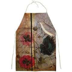 Vintage Bird Poppy Flower Botanical Art Apron