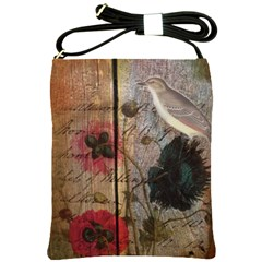 Vintage Bird Poppy Flower Botanical Art Shoulder Sling Bag